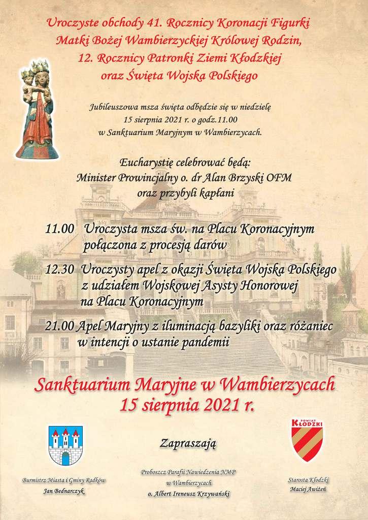 Plakat uroczystości 15 sierpnia 2021 w Wambierzycach