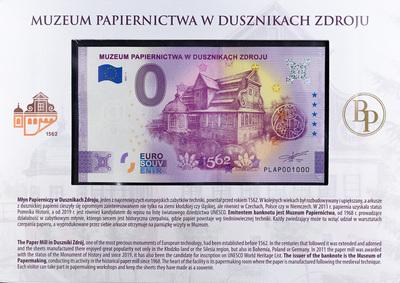 Banknot z opisem papierni